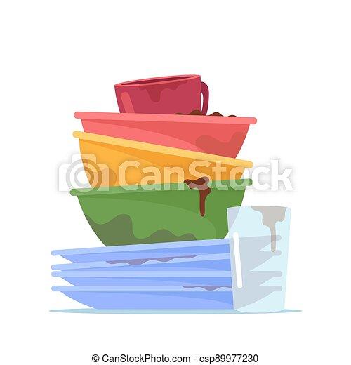 stapel, geräte, glas, geschirr, haufen , dreckige , wasser, waschen, küchengeschirr, becher, unordung, unhygienisch, oder, geschirr, platten - csp89977230