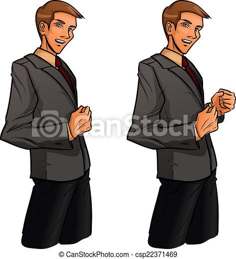 Der stehende Mann schlägt die Faust - csp22371469