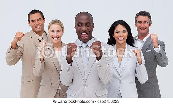 stehende , mannschaft, positiv, geschaeftswelt, lächeln glücklich - csp2756223