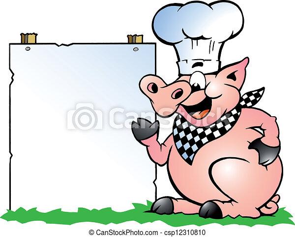 stehende , schwein, küchenchef, zeigen - csp12310810