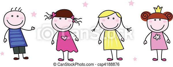 Stickfiguren - Doodle Kinder - csp4188876