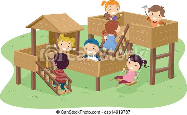Stickman-Kinder spielen im Park - csp14919787