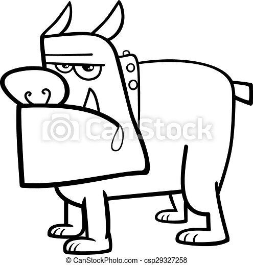 Bulldog-Cartoon-Farbenseite - csp29327258
