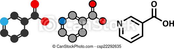 stilisiert, konventionell, molecule., skelettartig, (niacin), vitamin, 2d, übertragung, b3, formula. - csp22292635