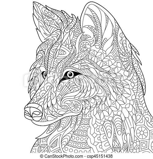 Zentangle stilisierter Wolf - csp45151438
