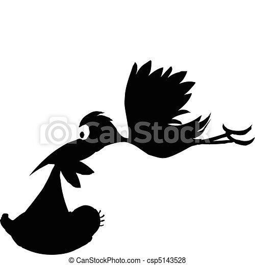 Storch mit Babyvektoren - csp5143528