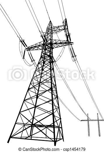 Stromleitungen und Pylonen - csp1454179