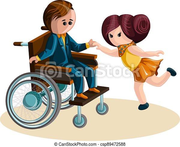 style., vektor, junge, 10, bild, m�dchen, wheelchair., tanzen, eps, karikatur - csp89472588