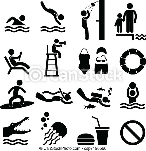 Swimmingpool-Strand-Icon-Symbol - csp7196566