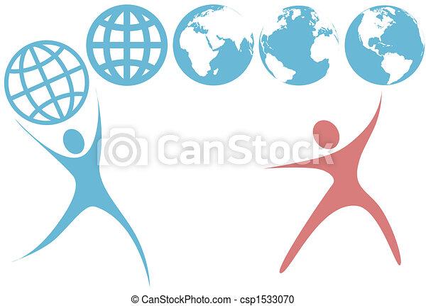 Swoosh Leute halten Planetenerdkugel-Symbole auf - csp1533070