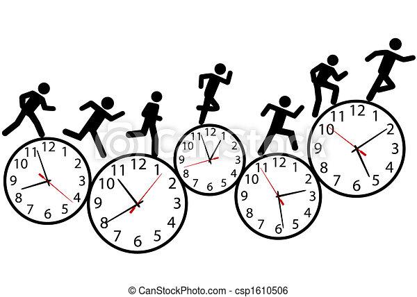 Symbol-Leute führen ein Rennen in der Zeit auf Uhren. - csp1610506