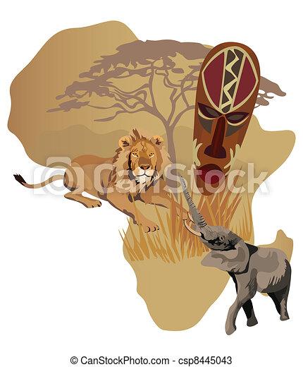 Symbole von Afrika - csp8445043