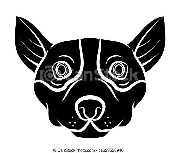 t�towierung, kopf, hund - csp23528946
