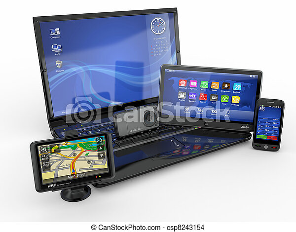 tablette, beweglich, laptop, pc, telefon, gps., 3d - csp8243154
