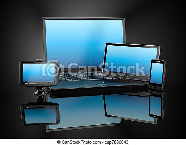 tablette, electronics., beweglich, laptop, pc, telefon, gps - csp7886643