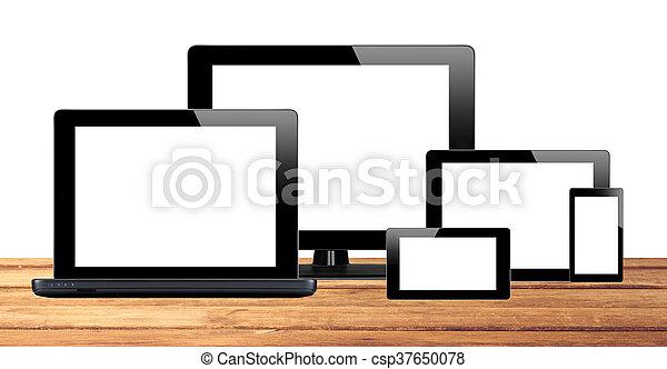 tablette, handy, edv, pc, tisch - csp37650078