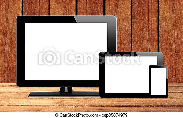 tablette, handy, edv, pc, tisch, hölzern - csp35874979