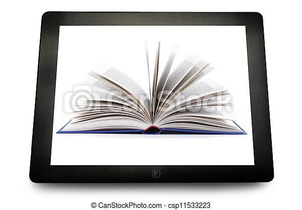 tablette pc, edv, leer, weißes, geöffnetes buch - csp11533223