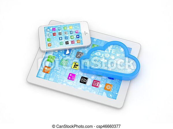 tablette, rendering., telefon, pc, cloud., klug, 3d - csp46660377