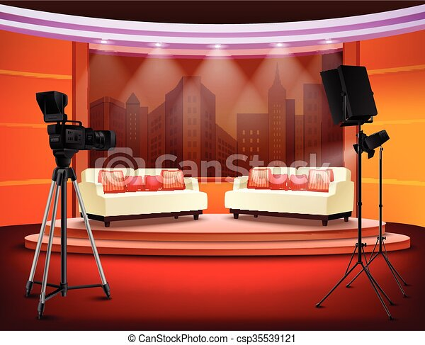Talk-Show Studio Innenraum. - csp35539121