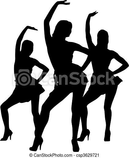 Silhouette-Frauen tanzen - csp3629721