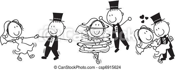 Der erste Tanz-Hochzeit- Cartoon - csp6915624