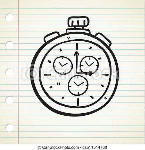 Taschenuhr-Doodle - csp11514788