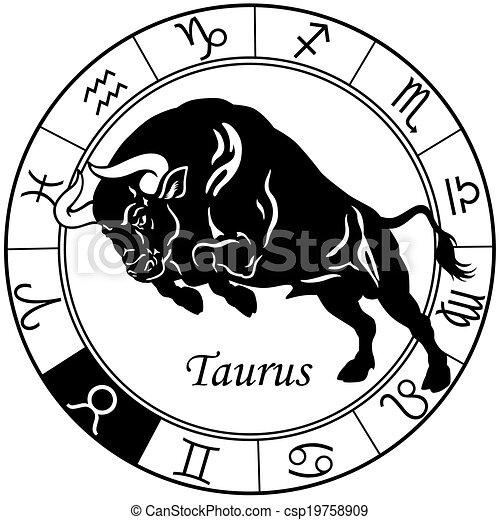 Taurus zodiac schwarzweiß. - csp19758909