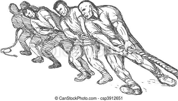Team oder Gruppe von Männern, die am Seil ziehen - csp3912651
