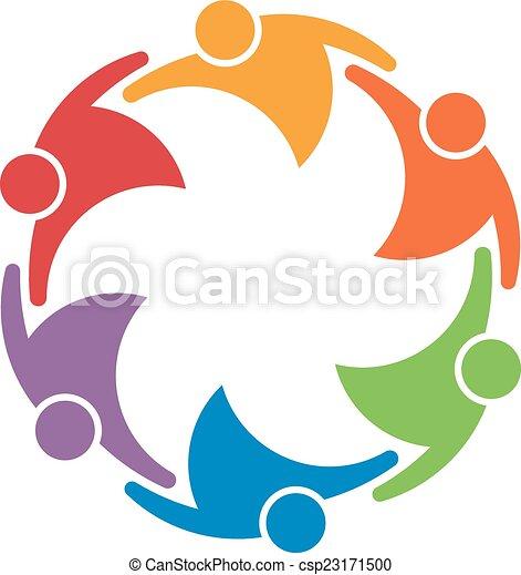 Teamarbeit Leute Gruppe von 6 in einem Kreis. Gewerkschaftskonzept - csp23171500