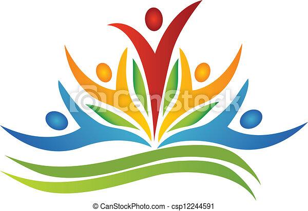 Teamwork-Blume mit Blatt-Logo - csp12244591