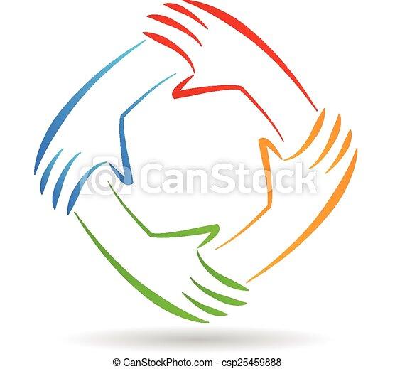 Teamwork Einheit Hand Logo. - csp25459888
