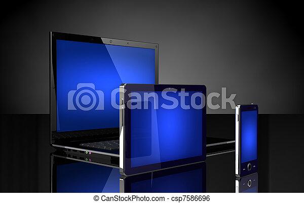 telefon, schwarz, laptop, schirme, blaues, tablette, beweglich - csp7586696