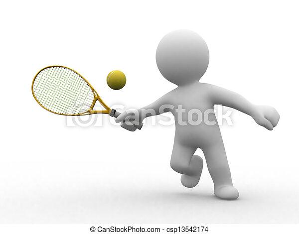 tennis, 3d, leute - csp13542174