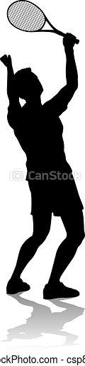 tennis, mann, spieler, silhouette, sport - csp80801217