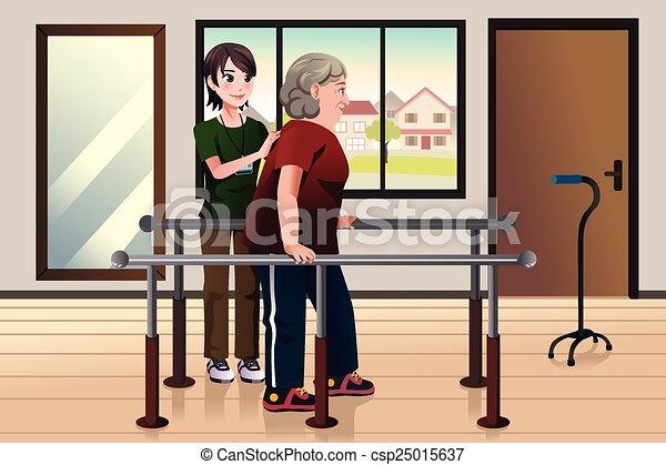 Physische Therapeutin, die an einem Patienten arbeitet - csp25015637