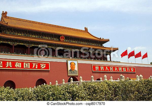 Tiananmen-Platz in Peking, Porzellan - csp8017970