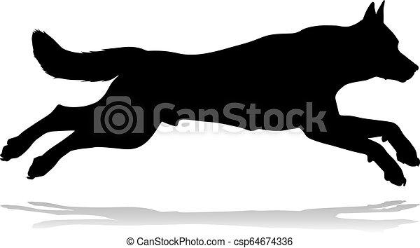 tier, haustier, silhouette, hund - csp64674336