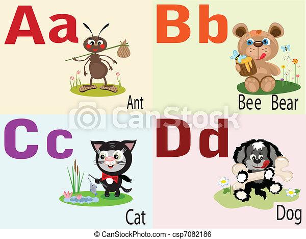Tierbuchstaben A, B, C, D. - csp7082186