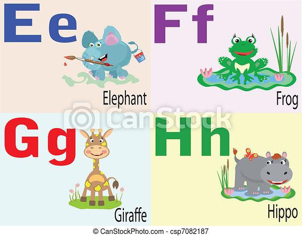Tierbuchstaben E,F,G,H. - csp7082187