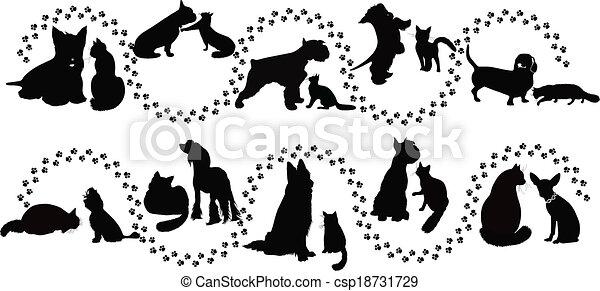 Tiere Katzen und Hunde. - csp18731729