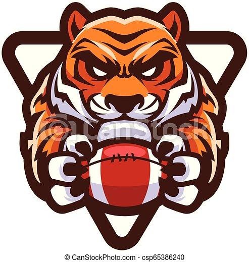 Tiger American Football Maskottchen. - csp65386240