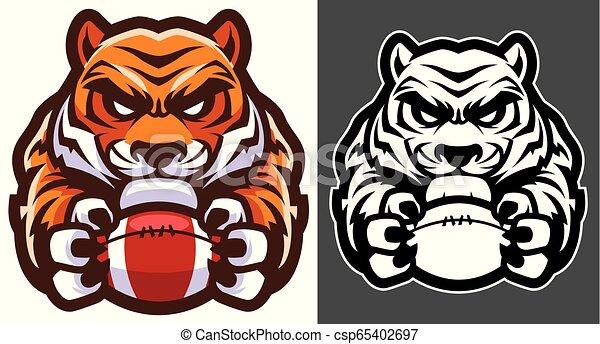 Tiger American Football Maskottchen. - csp65402697