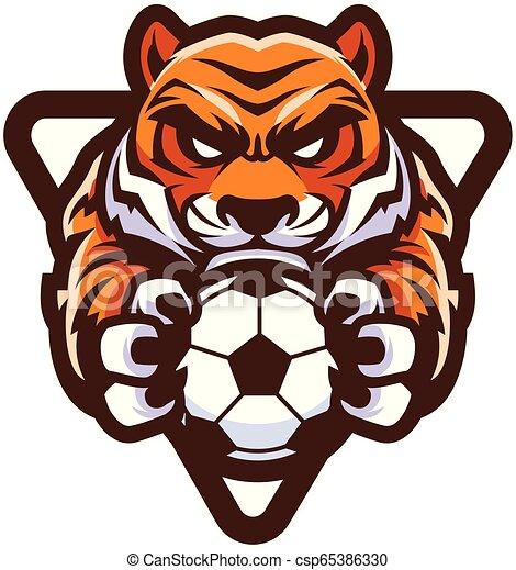 Tiger-Fußball-Maskottchen. - csp65386330