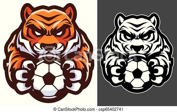 Tiger-Fußball-Maskottchen. - csp65402741
