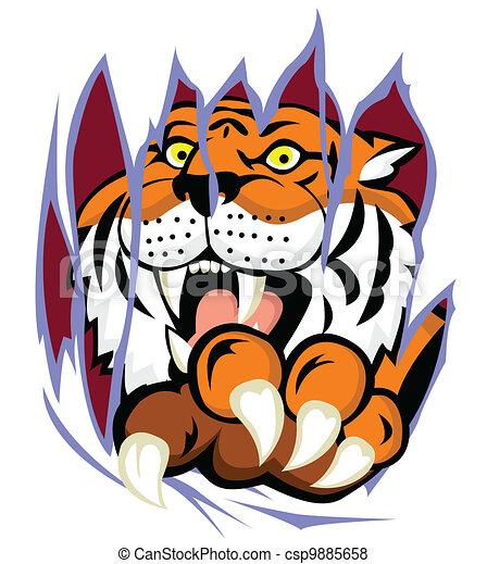 Tiger mit Klauen, die den Backgro zerreißen - csp9885658