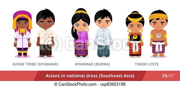 timor, kayan, stamm, national, leste., dress., myanmar, maenner, birma, frauen - csp83953198
