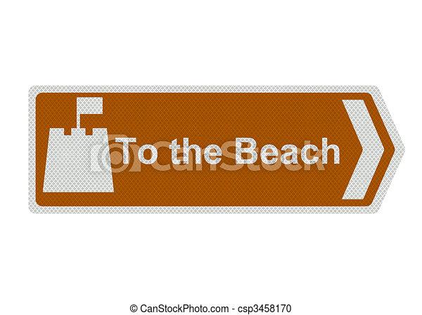 """Foto realistisch """"bis zum Strand"""" -Schild, isoliert - csp3458170"""
