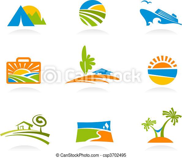 Tourismus und Urlaubs-Ikonen und Logos - csp3702495