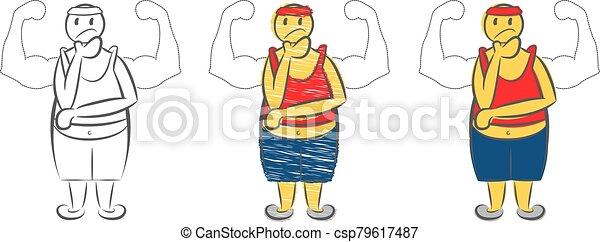 träumen ungefähr, koerper, muskulös, fettig - csp79617487